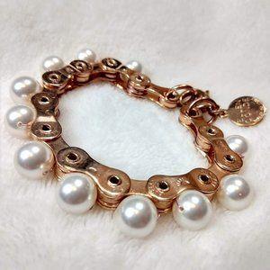 Ellen Conde pearl bike chain bracelet rose gold